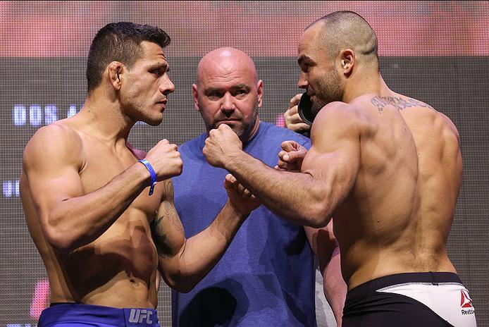 LAS VEGAS, NV - JULY 06: (L-R) UFC lightweight champion Rafael dos Anjos and challenger Eddie Alvarez face off during the UFC Fight Night Weigh-in event at the T-Mobile Arena on July 6, 2016 in Las Vegas, Nevada. (Photo by Ed Mulholland/Zuffa LLC/Zuffa LL