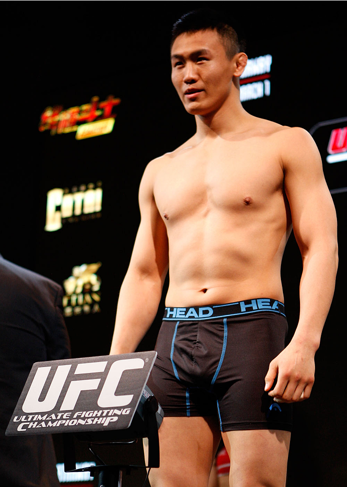 MACAU - FEBRUARY 28:  Albert Cheng during the UFC weigh-in event at the Venetian Macau on February 28, 2014 in Macau. (Photo by Mitch Viquez/Zuffa LLC/Zuffa LLC via Getty Images)