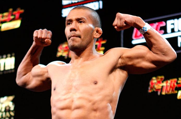 MACAU - FEBRUARY 28:  Ivan Menjivar during the UFC weigh-in event at the Venetian Macau on February 28, 2014 in Macau. (Photo by Mitch Viquez/Zuffa LLC/Zuffa LLC via Getty Images)