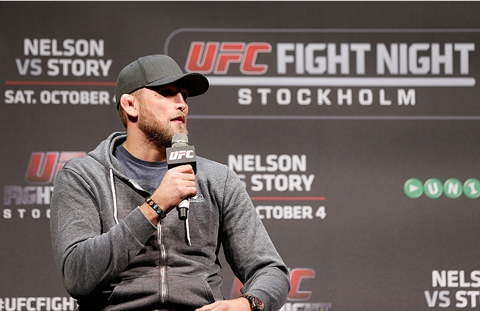 STOCKHOLM, SWEDEN - OCTOBER 03:  Top ranked UFC light heavyweight contender Alex Gustafsson of Sweden interacts with fans during a Q&A session before the UFC weigh-in at the Ericsson Globe Arena on October 3, 2014 in Stockholm, Sweden.  (Photo by Josh Hed