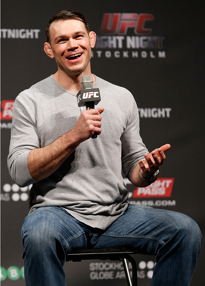STOCKHOLM, SWEDEN - OCTOBER 03:  UFC hall of famer Forrest Griffin interacts with fans during a Q&A session before the UFC weigh-in at the Ericsson Globe Arena on October 3, 2014 in Stockholm, Sweden.  (Photo by Josh Hedges/Zuffa LLC/Zuffa LLC)