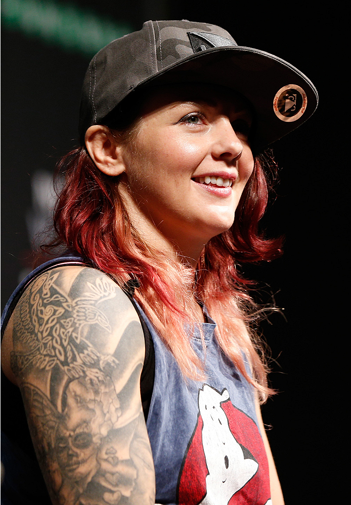 STOCKHOLM, SWEDEN - OCTOBER 03:  UFC strawweight contender Joanne Calderwood of Scotland interacts with fans during a Q&A session before the UFC weigh-in at the Ericsson Globe Arena on October 3, 2014 in Stockholm, Sweden.  (Photo by Josh Hedges/Zuffa LLC