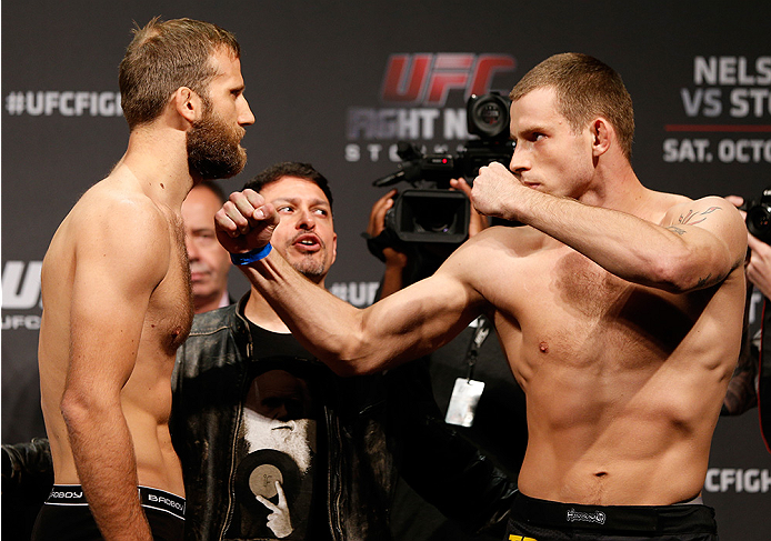 STOCKHOLM, SWEDEN - OCTOBER 03:  (L-R) Opponents Tor Troeng of Sweden and Krzysztof Jotko of Poland face off during the UFC weigh-in at the Ericsson Globe Arena on October 3, 2014 in Stockholm, Sweden.  (Photo by Josh Hedges/Zuffa LLC/Zuffa LLC)