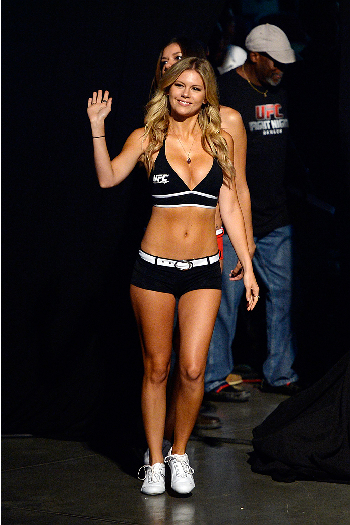 BANGOR, ME - AUG 15:  UFC Octagon Girl Chrissy Blair walks to the stage during the UFC fight night weigh-in at the Cross Insurance Center on August 15, 2014 in Bangor, Maine. (Photo by Jeff Bottari/Zuffa LLC/Zuffa LLC via Getty Images)