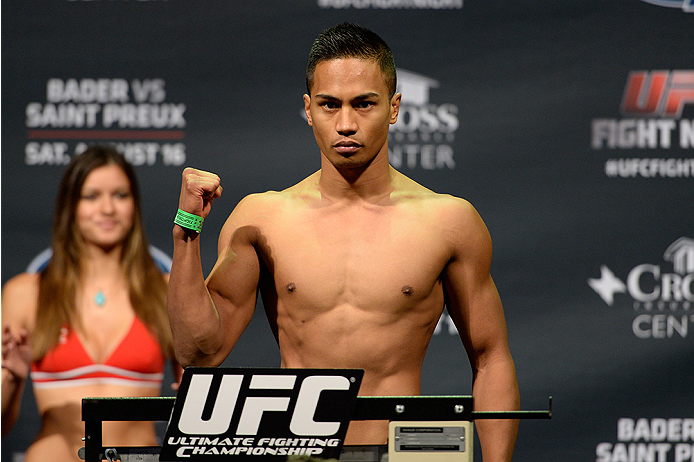 BANGOR, ME - AUG 15:  Nolan Ticman steps on the scale during the UFC fight night weigh-in at the Cross Insurance Center on August 15, 2014 in Bangor, Maine. (Photo by Jeff Bottari/Zuffa LLC/Zuffa LLC via Getty Images)