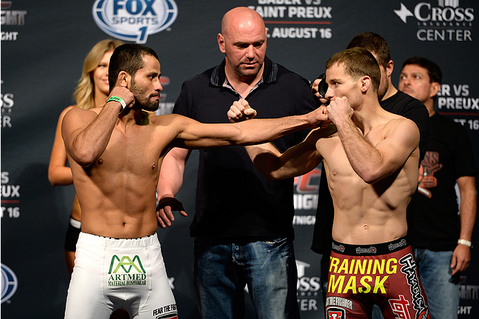 BANGOR, ME - AUG 15:  (L-R) Jussier Formiga and Zach Makovsky face off during the UFC fight night weigh-in at the Cross Insurance Center on August 15, 2014 in Bangor, Maine. (Photo by Jeff Bottari/Zuffa LLC/Zuffa LLC via Getty Images)