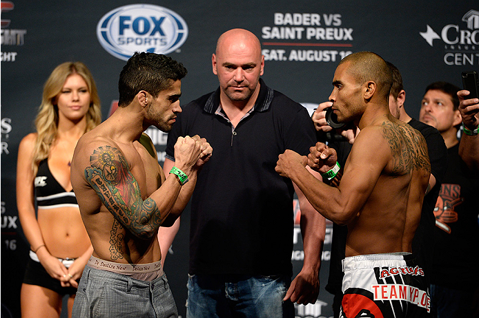 BANGOR, ME - AUG 15:  (L-R) Thiago Tavares and Robbie Peralta face off during the UFC fight night weigh-in at the Cross Insurance Center on August 15, 2014 in Bangor, Maine. (Photo by Jeff Bottari/Zuffa LLC/Zuffa LLC via Getty Images)