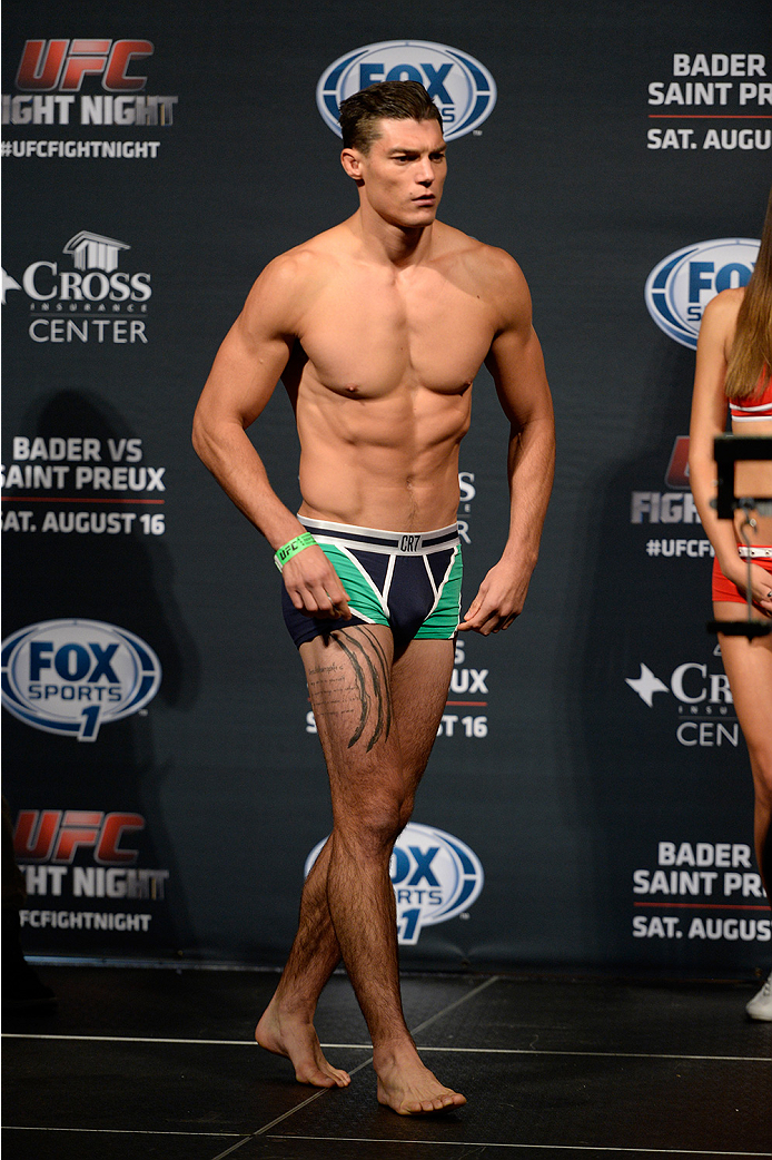 BANGOR, ME - AUG 15:  Alan Jouban walks on stage during the UFC fight night weigh-in at the Cross Insurance Center on August 15, 2014 in Bangor, Maine. (Photo by Jeff Bottari/Zuffa LLC/Zuffa LLC via Getty Images)