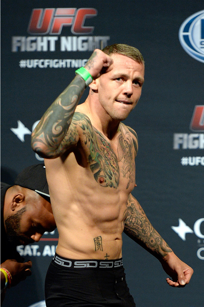 BANGOR, ME - AUG 15:  Ross Pearson walks on stage during the UFC fight night weigh-in at the Cross Insurance Center on August 15, 2014 in Bangor, Maine. (Photo by Jeff Bottari/Zuffa LLC/Zuffa LLC via Getty Images)