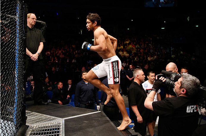 BERLIN, GERMANY - MAY 31:  Maximo Blanco enters the octagon during the Maximo Blanco vs. Andy Ogle  at UFC Fight Night Berlin event at O2 World on May 31, 2014 in Berlin, Germany. (Photo by Boris Streubel/Zuffa LLC/Zuffa LLC via Getty Images)
