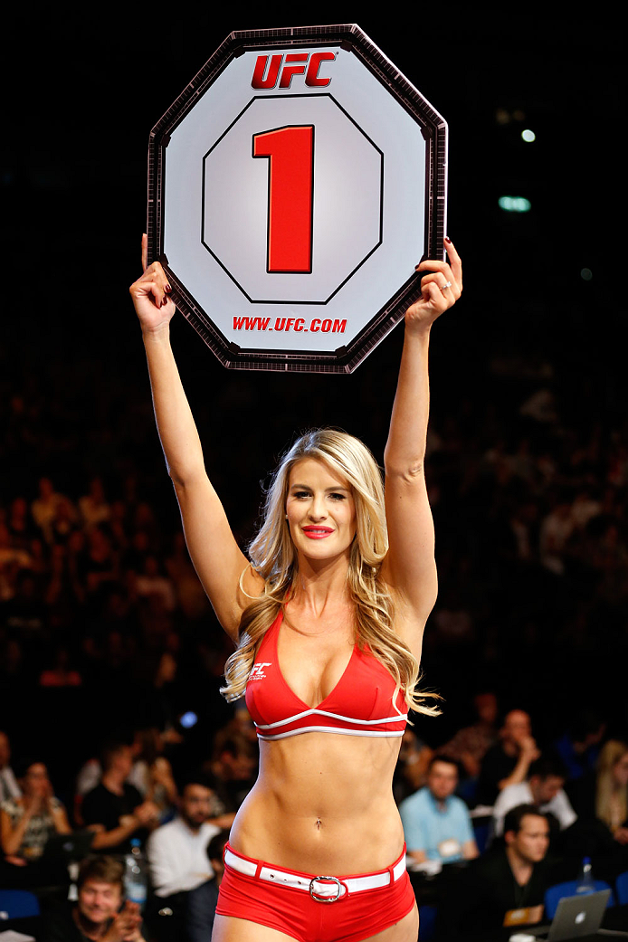 BERLIN, GERMANY - MAY 31:  Octagon Girl Kristie McKeon poses during the Maximo Blanco vs. Andy Ogle  at UFC Fight Night Berlin event at O2 World on May 31, 2014 in Berlin, Germany. (Photo by Boris Streubel/Zuffa LLC/Zuffa LLC via Getty Images)