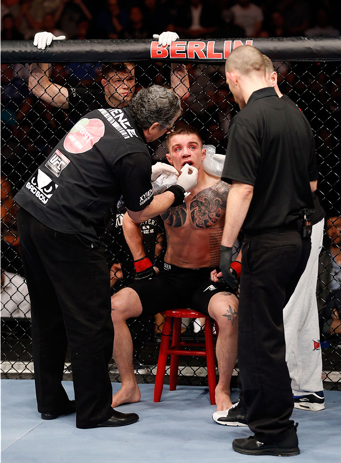 BERLIN, GERMANY - MAY 31:  Andy Ogle takes a break during the Maximo Blanco vs. Andy Ogle at UFC Fight Night Berlin event at O2 World on May 31, 2014 in Berlin, Germany. (Photo by Boris Streubel/Zuffa LLC/Zuffa LLC via Getty Images)