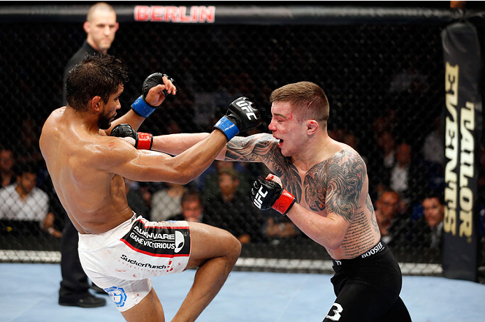 BERLIN, GERMANY - MAY 31:  Maximo Blanco (L) fights Andy Ogle during the Maximo Blanco vs. Andy Ogle  at UFC Fight Night Berlin event at O2 World on May 31, 2014 in Berlin, Germany. (Photo by Boris Streubel/Zuffa LLC/Zuffa LLC via Getty Images)