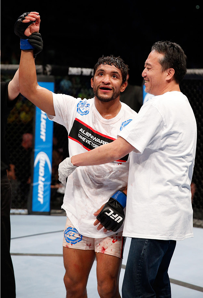 BERLIN, GERMANY - MAY 31:  Maximo Blanco celebrates after winning the Maximo Blanco vs. Andy Ogle  at UFC Fight Night Berlin event at O2 World on May 31, 2014 in Berlin, Germany. (Photo by Boris Streubel/Zuffa LLC/Zuffa LLC via Getty Images)