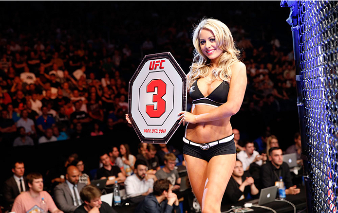 BERLIN, GERMANY - MAY 31:  Octagon Girl Carly Baker poses during the Pawel Pawlak vs. Peter Sobotta  at UFC Fight Night Berlin event at O2 World on May 31, 2014 in Berlin, Germany. (Photo by Boris Streubel/Zuffa LLC/Zuffa LLC via Getty Images)