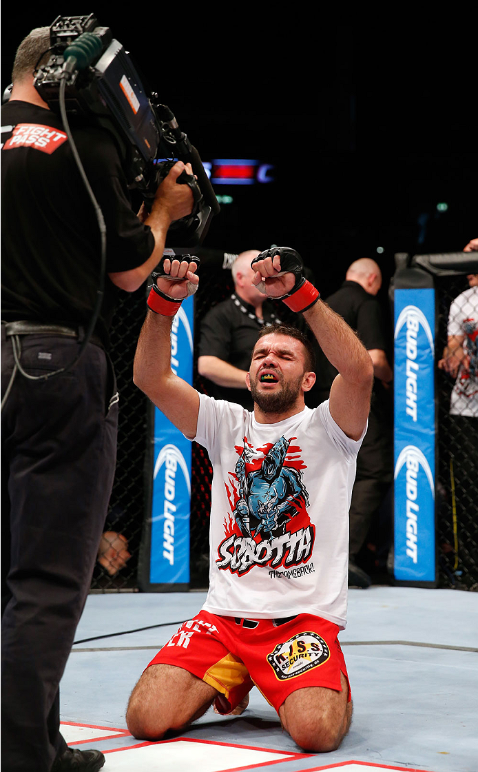 BERLIN, GERMANY - MAY 31: Peter Sobotta celebrates after winning the the Pawel Pawlak vs. Peter Sobotta  at UFC Fight Night Berlin event at O2 World on May 31, 2014 in Berlin, Germany. (Photo by Boris Streubel/Zuffa LLC/Zuffa LLC via Getty Images)