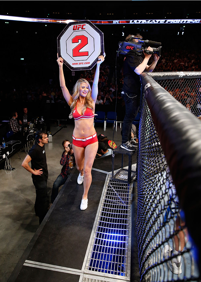 BERLIN, GERMANY - MAY 31: Octagon Girl Kristie McKeon poses during the Krzysztof Jotko vs. Magnus Cedenblad  at UFC Fight Night Berlin event at O2 World on May 31, 2014 in Berlin, Germany. (Photo by Boris Streubel/Zuffa LLC/Zuffa LLC via Getty Images)