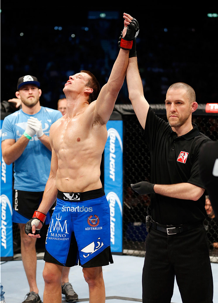 BERLIN, GERMANY - MAY 31: Magnus Cedenblad celebrates after winning the Krzysztof Jotko vs. Magnus Cedenblad  at UFC Fight Night Berlin event at O2 World on May 31, 2014 in Berlin, Germany. (Photo by Boris Streubel/Zuffa LLC/Zuffa LLC via Getty Images)