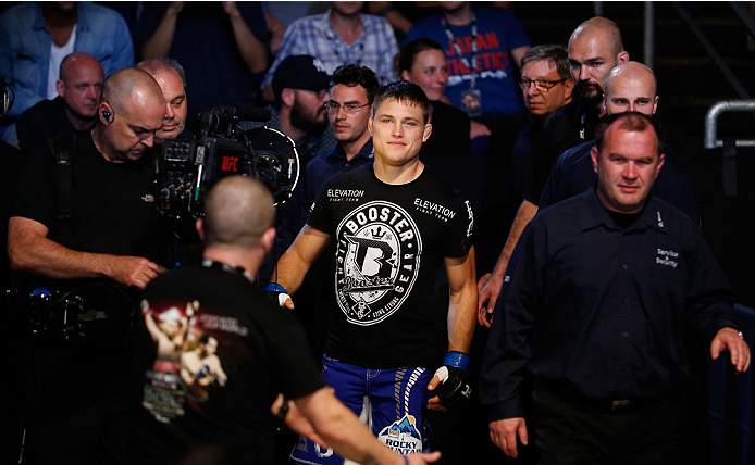 BERLIN, GERMANY - MAY 31:  Drew Dober enters the octagon during the Drew Dober vs. Nick Hein  at UFC Fight Night Berlin event at O2 World on May 31, 2014 in Berlin, Germany. (Photo by Boris Streubel/Zuffa LLC/Zuffa LLC via Getty Images)