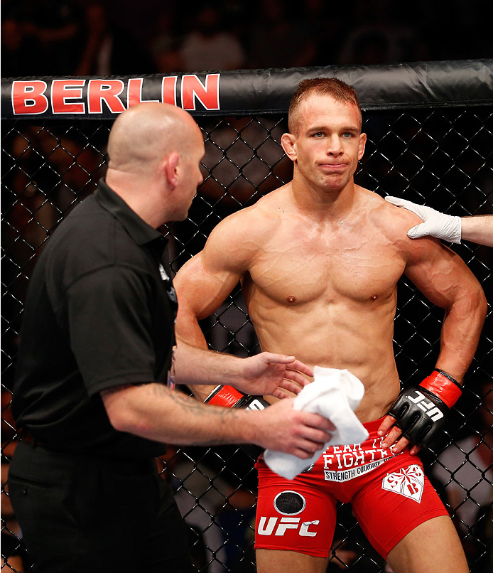 BERLIN, GERMANY - MAY 31:  Nick Hein stands in the octagon during the Drew Dober vs. Nick Hein  at UFC Fight Night Berlin event at O2 World on May 31, 2014 in Berlin, Germany. (Photo by Boris Streubel/Zuffa LLC/Zuffa LLC via Getty Images)