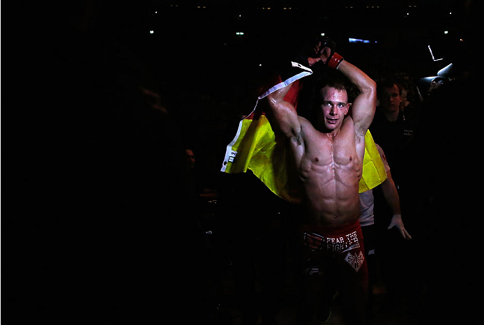 BERLIN, GERMANY - MAY 31:  Nick Hein leaves the ring after the Drew Dober vs. Nick Hein  at UFC Fight Night Berlin event at O2 World on May 31, 2014 in Berlin, Germany. (Photo by Boris Streubel/Zuffa LLC/Zuffa LLC via Getty Images)