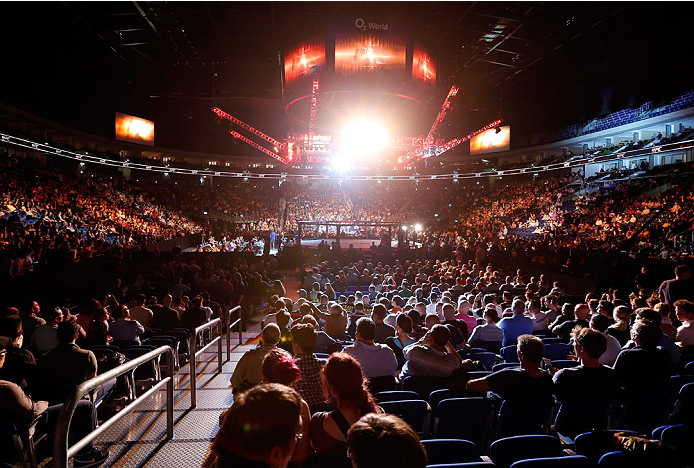 BERLIN, GERMANY - MAY 31: The audience waits for the beginning of the Niklas Backstrom vs. Tom Niinimaki  at UFC Fight Night Berlin event at O2 World on May 31, 2014 in Berlin, Germany. (Photo by Boris Streubel/Zuffa LLC/Zuffa LLC via Getty Images)