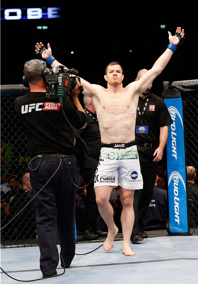 BERLIN, GERMANY - MAY 31:  C.B. Dollaway enters the octagon for the C.B. Dollaway vs. Francis Carmont match at UFC Fight Night Berlin event at O2 World on May 31, 2014 in Berlin, Germany. (Photo by Boris Streubel/Zuffa LLC/Zuffa LLC via Getty Images)