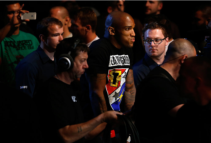 BERLIN, GERMANY - MAY 31:  Francis Carmont enters the octagon after the C.B. Dollaway vs. Francis Carmont match at UFC Fight Night Berlin event at O2 World on May 31, 2014 in Berlin, Germany. (Photo by Boris Streubel/Zuffa LLC/Zuffa LLC via Getty Images)