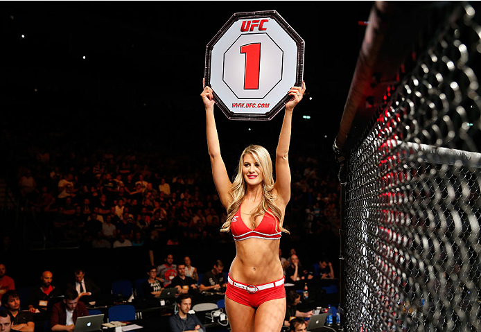 BERLIN, GERMANY - MAY 31:  Octagon Girl Kristie McKeon poses during the C.B. Dollaway vs. Francis Carmont match at UFC Fight Night Berlin event at O2 World on May 31, 2014 in Berlin, Germany. (Photo by Boris Streubel/Zuffa LLC/Zuffa LLC via Getty Images)
