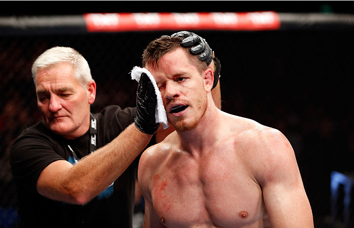 BERLIN, GERMANY - MAY 31:  C.B. Dollaway cools off after winning the C.B. Dollaway vs. Francis Carmont match at UFC Fight Night Berlin event at O2 World on May 31, 2014 in Berlin, Germany. (Photo by Boris Streubel/Zuffa LLC/Zuffa LLC via Getty Images)