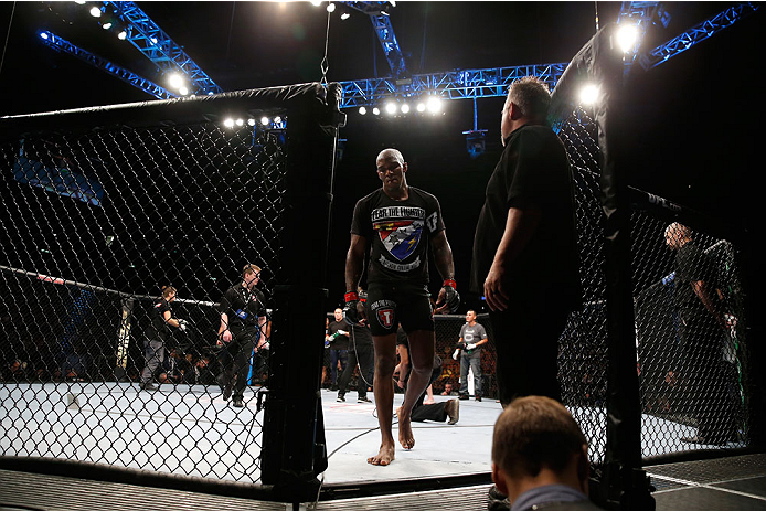 BERLIN, GERMANY - MAY 31:  Francis Carmont leaves the octagon after the C.B. Dollaway vs. Francis Carmont match at UFC Fight Night Berlin event at O2 World on May 31, 2014 in Berlin, Germany. (Photo by Boris Streubel/Zuffa LLC/Zuffa LLC via Getty Images)