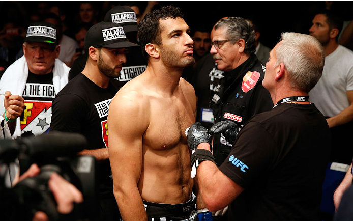 BERLIN, GERMANY - MAY 31:  Gegard Mousasi prepares to fight in the Gegard Mousasi vs. Mark Munoz match at UFC Fight Night Berlin event at O2 World on May 31, 2014 in Berlin, Germany. (Photo by Boris Streubel/Zuffa LLC/Zuffa LLC via Getty Images)