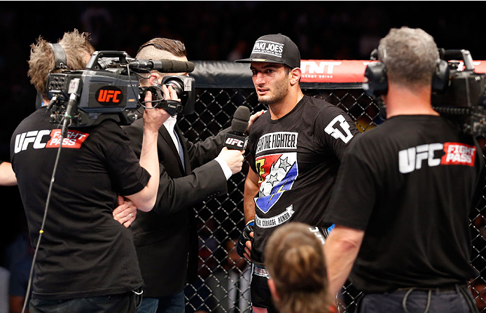 BERLIN, GERMANY - MAY 31:  Gegard Mousasi (C) speaks to the media after winning the Gegard Mousasi vs. Mark Munoz match at UFC Fight Night Berlin event at O2 World on May 31, 2014 in Berlin, Germany. (Photo by Boris Streubel/Zuffa LLC/Zuffa LLC via Getty