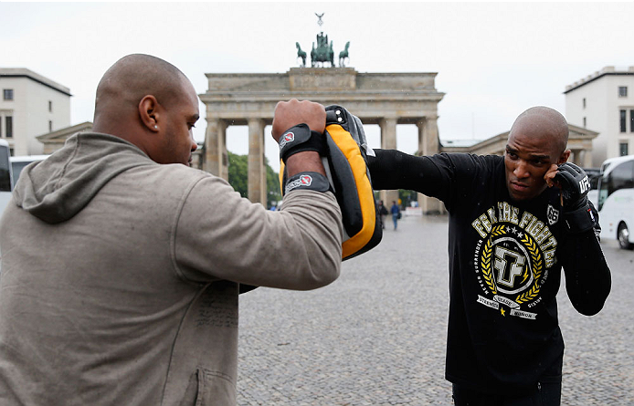 BERLIN, GERMANY - MAY 28:  Francis Carmont (R) holds a Guerillia open air training session for fans and media at Brandenburg Gate on May 28, 2014 in Berlin, Germany.  (Photo by Boris Streubel/Zuffa LLC/Zuffa LLC via Getty Images)