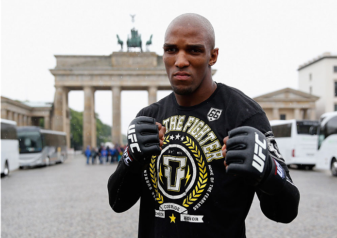 BERLIN, GERMANY - MAY 28:  Francis Carmont pose during a Guerillia open air training session for fans and media at Brandenburg Gate on May 28, 2014 in Berlin, Germany.  (Photo by Boris Streubel/Zuffa LLC/Zuffa LLC via Getty Images)