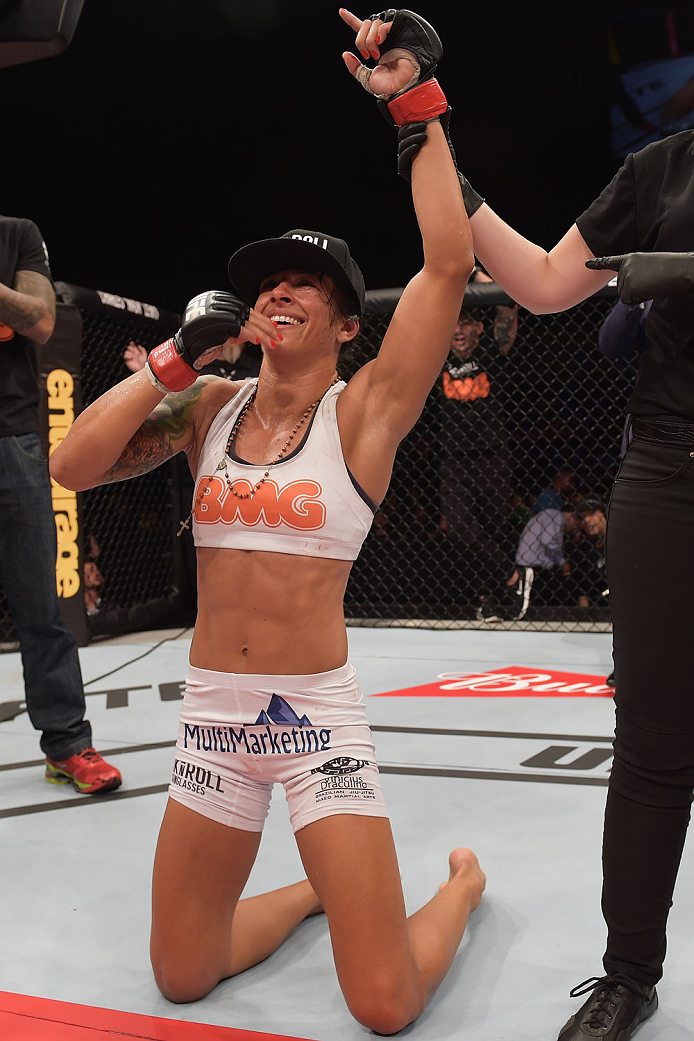 GOIANIA, BRAZIL - MAY 30:  Juliana Lima of Brazil celebrates victory over Ericka Almeida in their UFC strawweight bout during the UFC Fight Night Condit v Alves at Arena Goiania on May 30, 2015 in Goiania.  (Photo by Buda Mendes/Zuffa LLC/Zuffa LLC via Ge