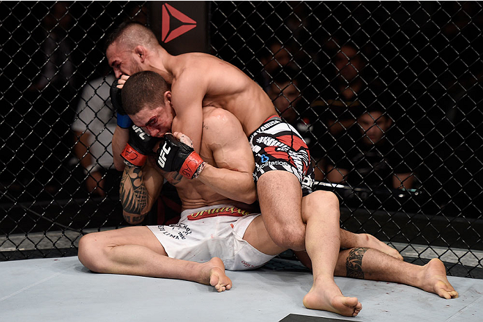 GOIANIA, BRAZIL - MAY 30:  Mirsad Bektic of Bosnia and Lucas Martins of Brazil in their featherweight UFC bout during the UFC Fight Night Condit v Alves at Arena Goiania on May 30, 2015 in Goiania.  (Photo by Buda Mendes/Zuffa LLC/Zuffa LLC via Getty Imag