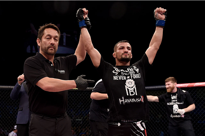 GOIANIA, BRAZIL - MAY 30:  Mirsad Bektic of Bosnia celebrates his victore over Lucas Martins of Brazil in their featherweight UFC bout during the UFC Fight Night Condit v Alves at Arena Goiania on May 30, 2015 in Goiania.  (Photo by Buda Mendes/Zuffa LLC/