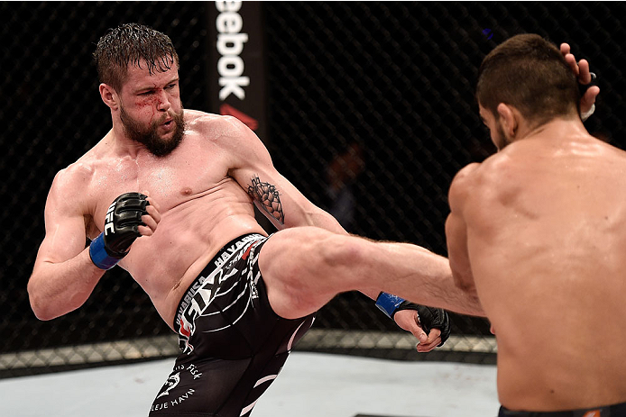 GOIANIA, BRAZIL - MAY 30:  Nicolas Dalby of Denmark kicks Elizeu Zaleski dos Santos of Brazil in their welterweight UFC bout during the UFC Fight Night Condit v Alves at Arena Goiania on May 30, 2015 in Goiania.  (Photo by Buda Mendes/Zuffa LLC/Zuffa LLC