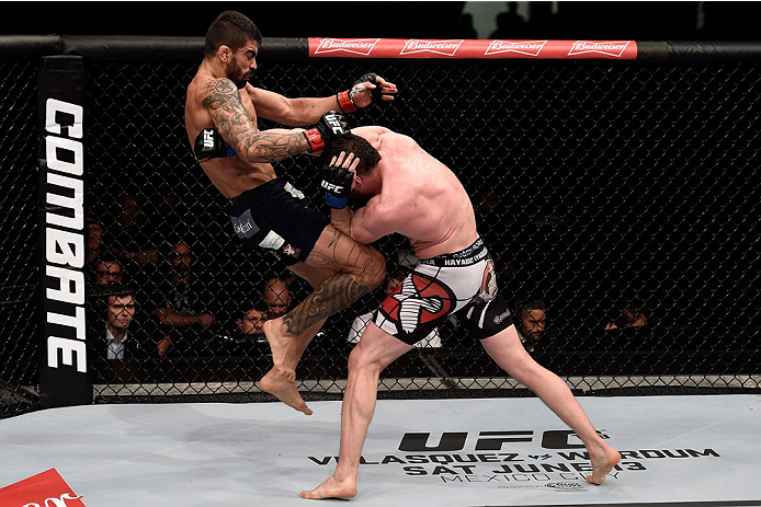 GOIANIA, BRAZIL - MAY 30:  Elizeu Zaleski dos Santos of Brazil kicks Nicolas Dalby of Denmark in their welterweight UFC bout during the UFC Fight Night Condit v Alves at Arena Goiania on May 30, 2015 in Goiania.  (Photo by Buda Mendes/Zuffa LLC/Zuffa LLC