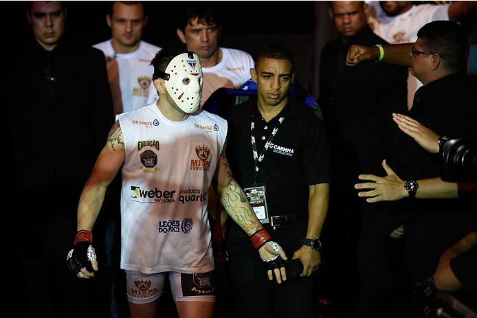 GOIANIA, BRAZIL - MAY 30:  Rony Jackson of Brazil enters the arena prior to his UFC featherweight bout against Damon Jackson of the United states during the UFC Fight Night Condit v Alves at Arena Goiania on May 30, 2015 in Goiania.  (Photo by Buda Mendes