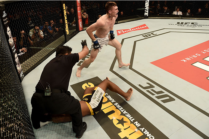 GOIANIA, BRAZIL - MAY 30:  Darren Till of England celebrates victory over Wendell Oliveira of Brazil in their welterweight UFC bout during the UFC Fight Night event at Arena Goiania on May 30, 2015 in Goiania.   (Photo by Buda Mendes/Zuffa LLC/Zuffa LLC v