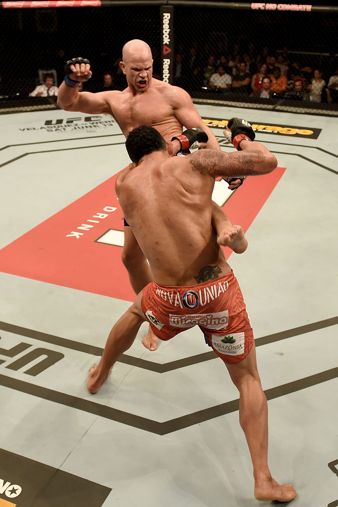 GOIANIA, BRAZIL - MAY 30:  Ryan Jimmo of Canada kicks Francimar Barroso of Brazil in their light heavyweight UFC bout during the UFC Fight Night event at Arena Goiania on May 30, 2015 in Goiania.  (Photo by Buda Mendes/Zuffa LLC/Zuffa LLC via Getty Images