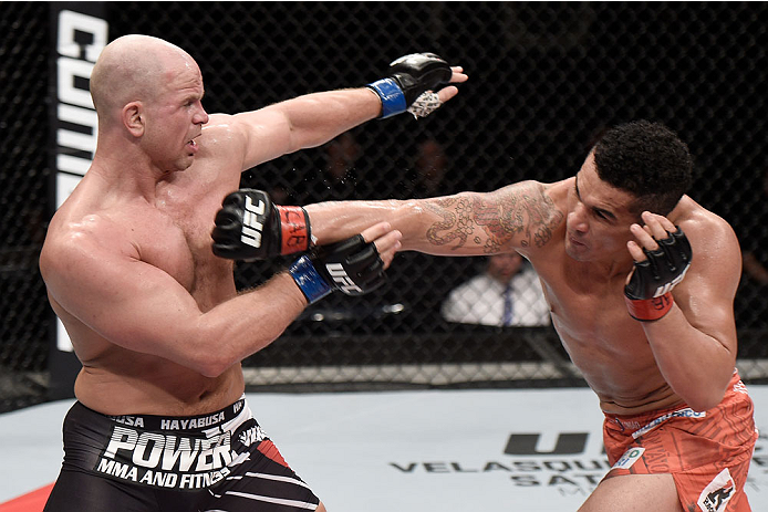 GOIANIA, BRAZIL - MAY 30:  Francimar Barroso of Brazil punches Ryan Jimmo of Canada in their light heavyweight UFC bout during the UFC Fight Night event at Arena Goiania on May 30, 2015 in Goiania.  (Photo by Buda Mendes/Zuffa LLC/Zuffa LLC via Getty Imag