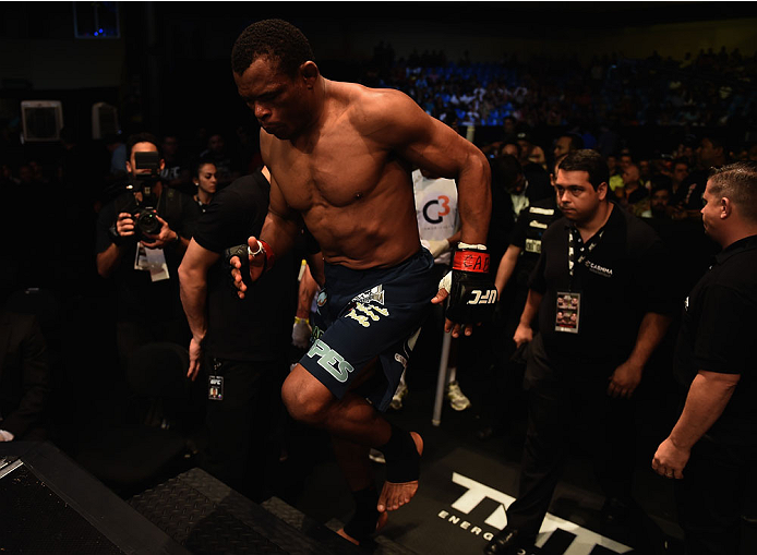 GOIANIA, BRAZIL - MAY 30:  Francisco Trinaldo  of Brazil enters the arena prior to his  lightweight UFC bout against Norman Park of Northern Ireland during the UFC Fight Night event at Arena Goiania on May 30, 2015 in Goiania.  (Photo by Buda Mendes/Zuffa