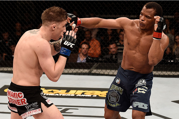 GOIANIA, BRAZIL - MAY 30:  Francisco Trinaldo of Brazil punches Norman Parke of Northern Ireland in their lightweight UFC bout during the UFC Fight Night event at Arena Goiania on May 30, 2015 in Goiania.  (Photo by Buda Mendes/Zuffa LLC/Zuffa LLC via Get