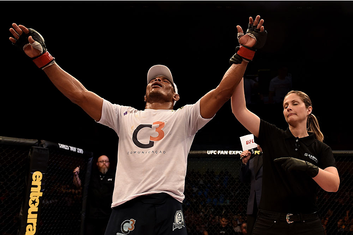 GOIANIA, BRAZIL - MAY 30:  Francisco Trinaldo of Brazil celebrates victore over  Norman Parke of Northern Ireland in their lightweight UFC bout during the UFC Fight Night event at Arena Goiania on May 30, 2015 in Goiania.  (Photo by Buda Mendes/Zuffa LLC/