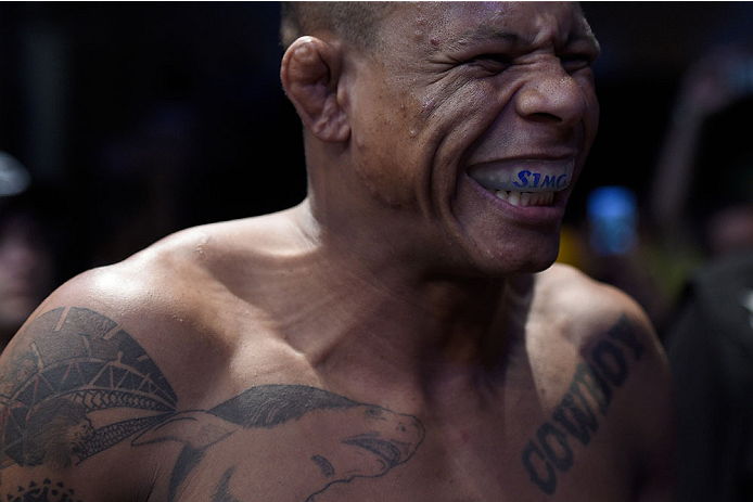 GOIANIA, BRAZIL - MAY 30: Alex Oliveira of Brazil looks on prior to his welterweight UFC bout against  KJ Noons of the United States  during the UFC Fight Night event at Arena Goiania on May 30, 2015 in Goiania.  (Photo by Buda Mendes/Zuffa LLC/Zuffa LLC