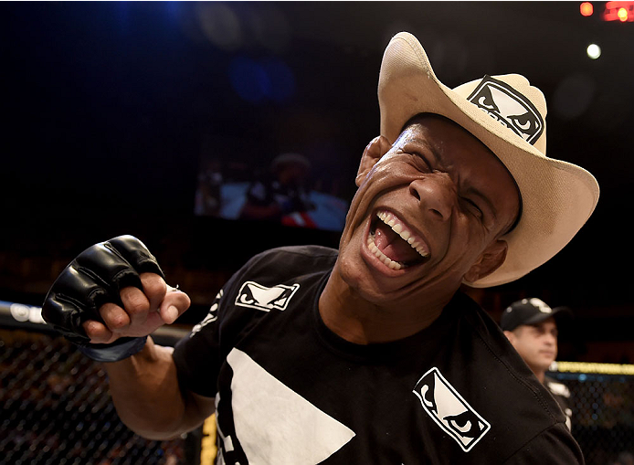 GOIANIA, BRAZIL - MAY 30:  Alex Oliveira of Brazil celebrates victory over KJ Noons of the United States in their welterweight UFC bout during the UFC Fight Night event at Arena Goiania on May 30, 2015 in Goiania.  (Photo by Buda Mendes/Zuffa LLC/Zuffa LL
