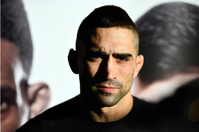 MONTERREY, MEXICO - NOVEMBER 18:  Ricardo Lamas interviews with the media after holding an open workout for fans and media at Nave Lewis-Parque Fundidora on November 18, 2015 in Monterrey, Mexico. (Photo by Jeff Bottari/Zuffa LLC/Zuffa LLC via Getty Image